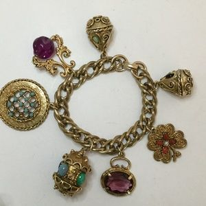 Vintage 1950s Gold Tone Charm Bracelet